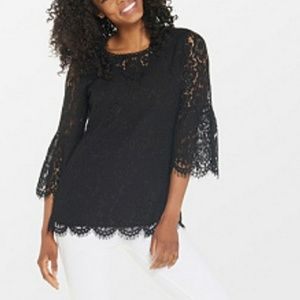 Isaac Mizrahi floral lace bell sleeves top SIZE 2X